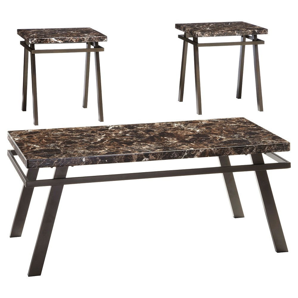 Paintsville Occasional Table Set Bronze Finish (Set of 3) - Signature Design by Ashley, Brown