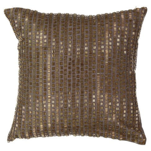 "Beautyrest 14""x14"" Sandrine Beaded Throw Pillow Brown - image 1 of 3"