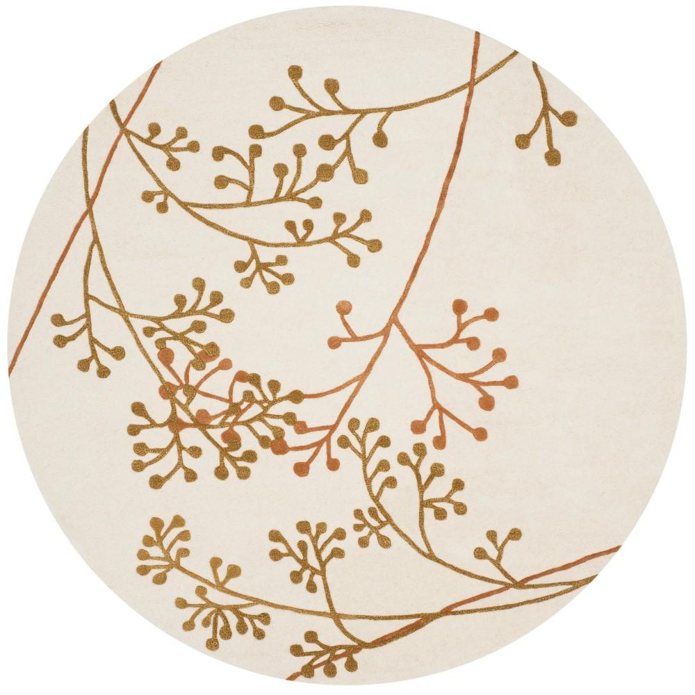 6' Floral Tufted Round Area Rug Ivory/Orange - Safavieh
