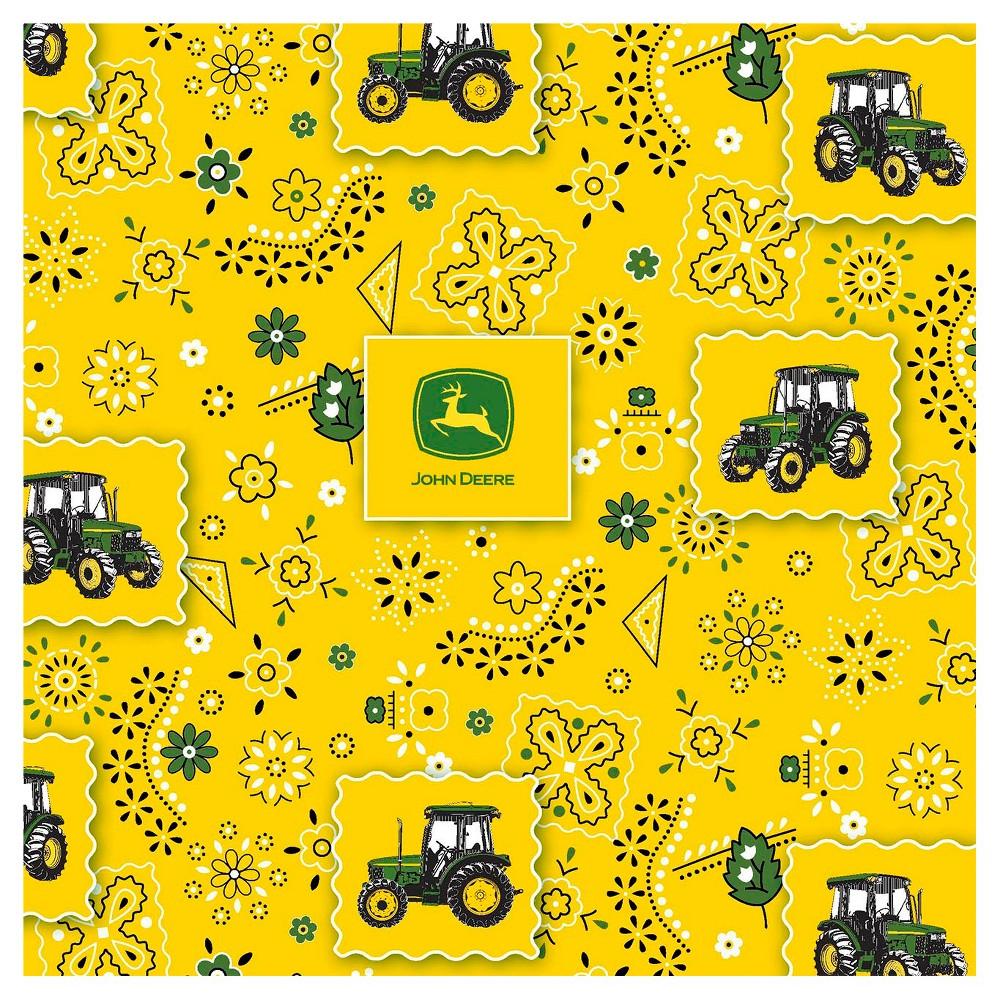 John Deere Bandana Tractor Patch Fabric, Yellow