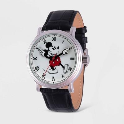 Men's Disney Mickey Mouse Vintage Leather Strap - Black