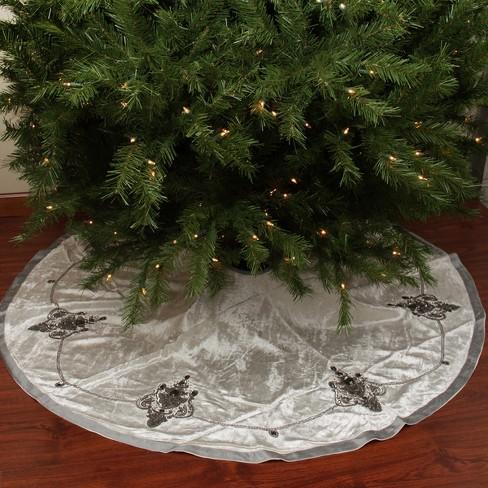 Elegant Christmas Tree Skirts.Northlight 56 Elegant Cream And Charcoal Gray Beaded And Sequin Velveteen Christmas Tree Skirt