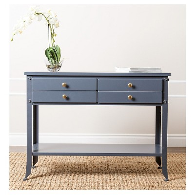Hewitt Antiqued 4 Drawer Console Sofa Table   Blue   Abbyson Living : Target