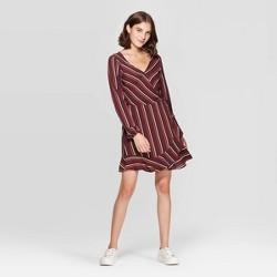 Women's Striped V-Neck Long Sleeve Wrap Mini Dress - Xhilaration™ Burgundy