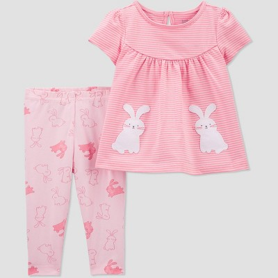 Baby Girls' 2pc Bunny Pocket Top & Bottom Set - Just One You® made by carter's Pink