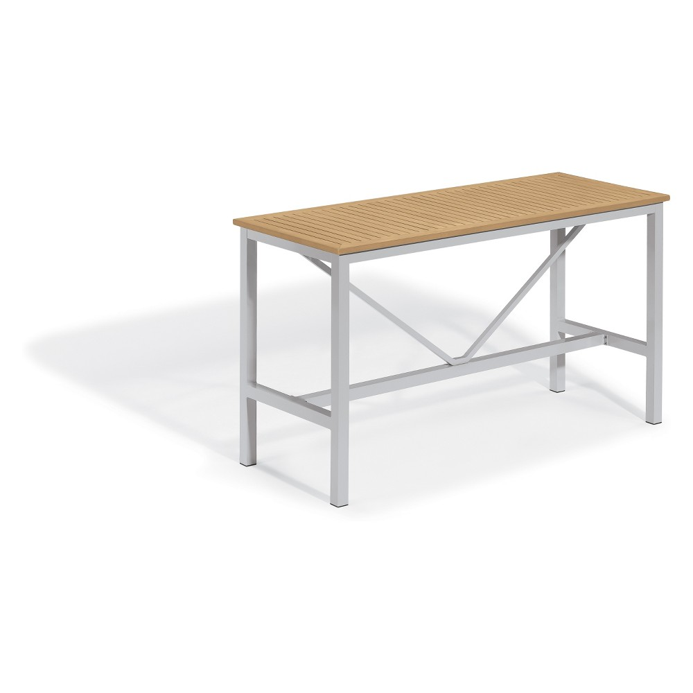 "Image of ""72"""" Travira Rectangular Bar Table with Powder-Coated Aluminum Frame and Tekwood Natural Top - Oxford Garden"""