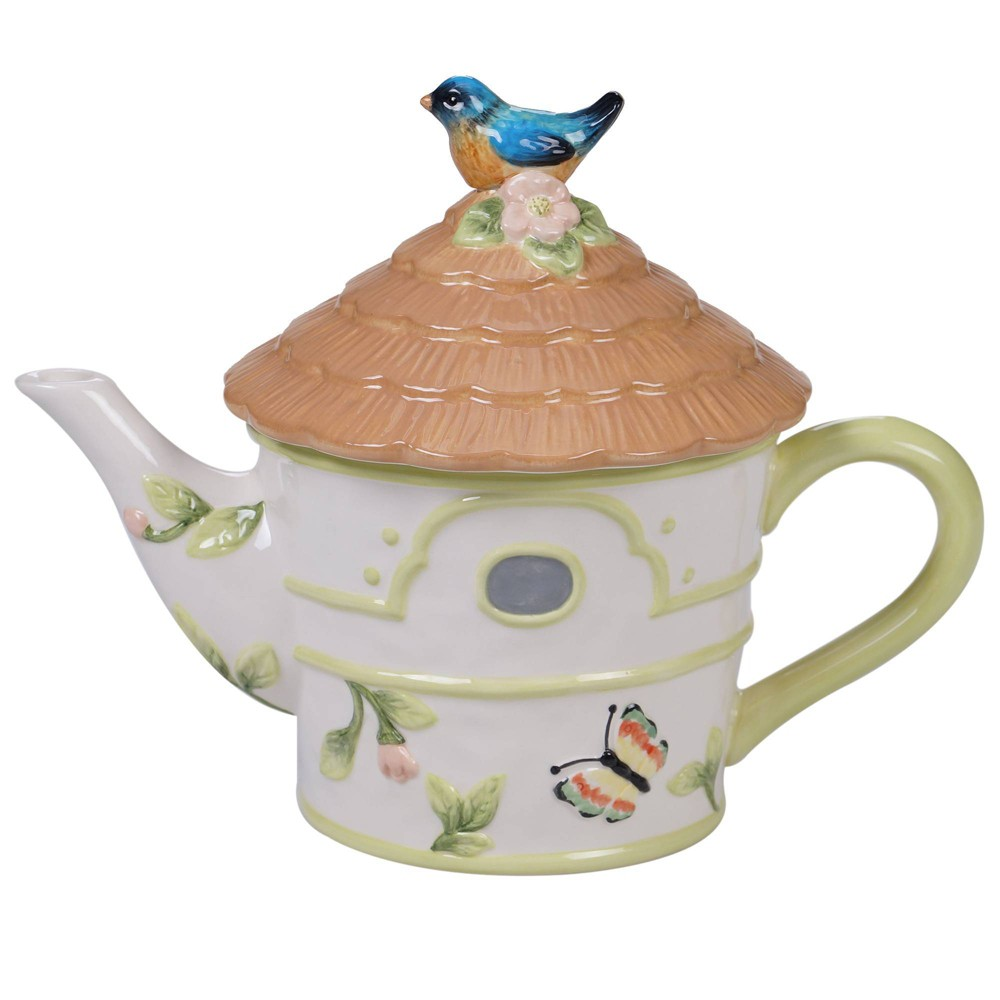 Image of 26oz Earthenware Spring Meadows Birdhouse Teapot White - Certified International, White Brown
