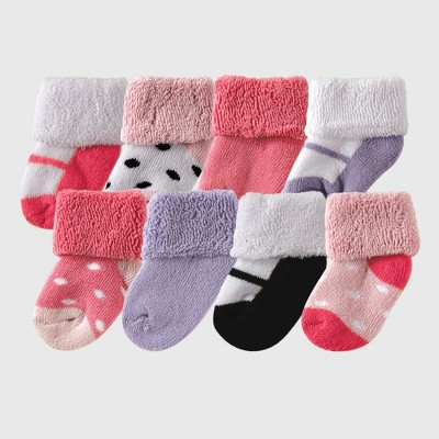 Luvable Friends Baby Girls' 8pk Socks - Pink 0-6M
