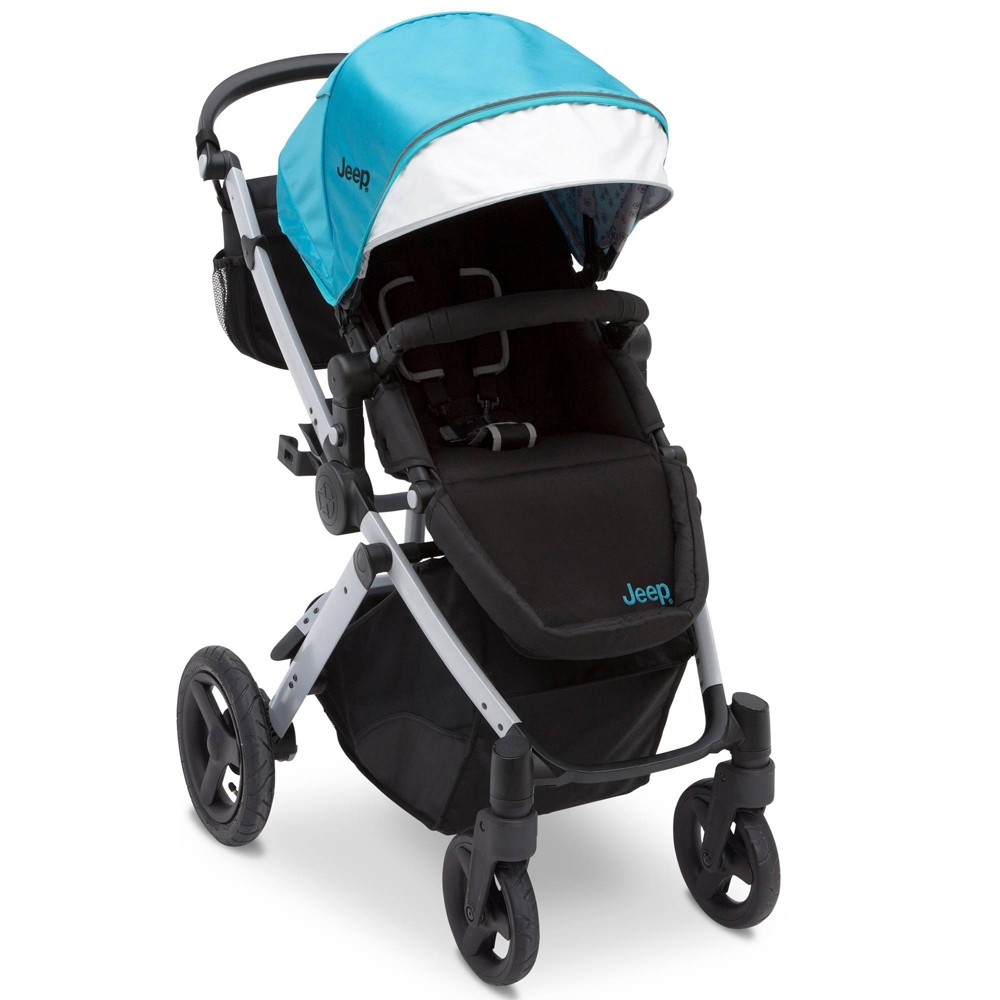 J is for Jeep Brand Sport Utility All-Terrain Stroller - Aqua on Silver Frame