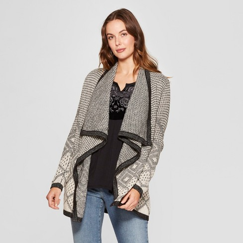 Women's Long Sleeve Waterfall Cardigan - Knox Rose™ Black M - image 1 of 2