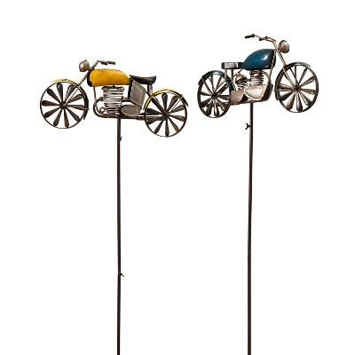 Gerson International 63-Inch High Antique-Style Metal Motorcycle Wind Spinners, Set of 2