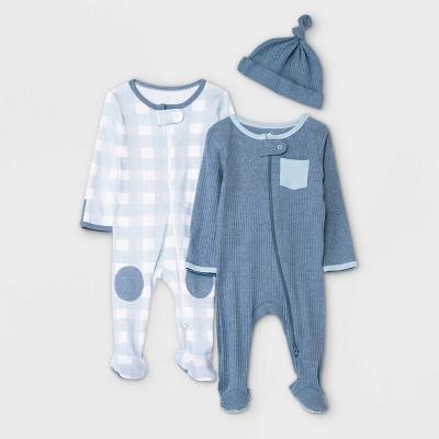 Baby Boys' 2pk Bear/Plaid Sleep N' Play with Hat - Cloud Island™ Blue 0-3M