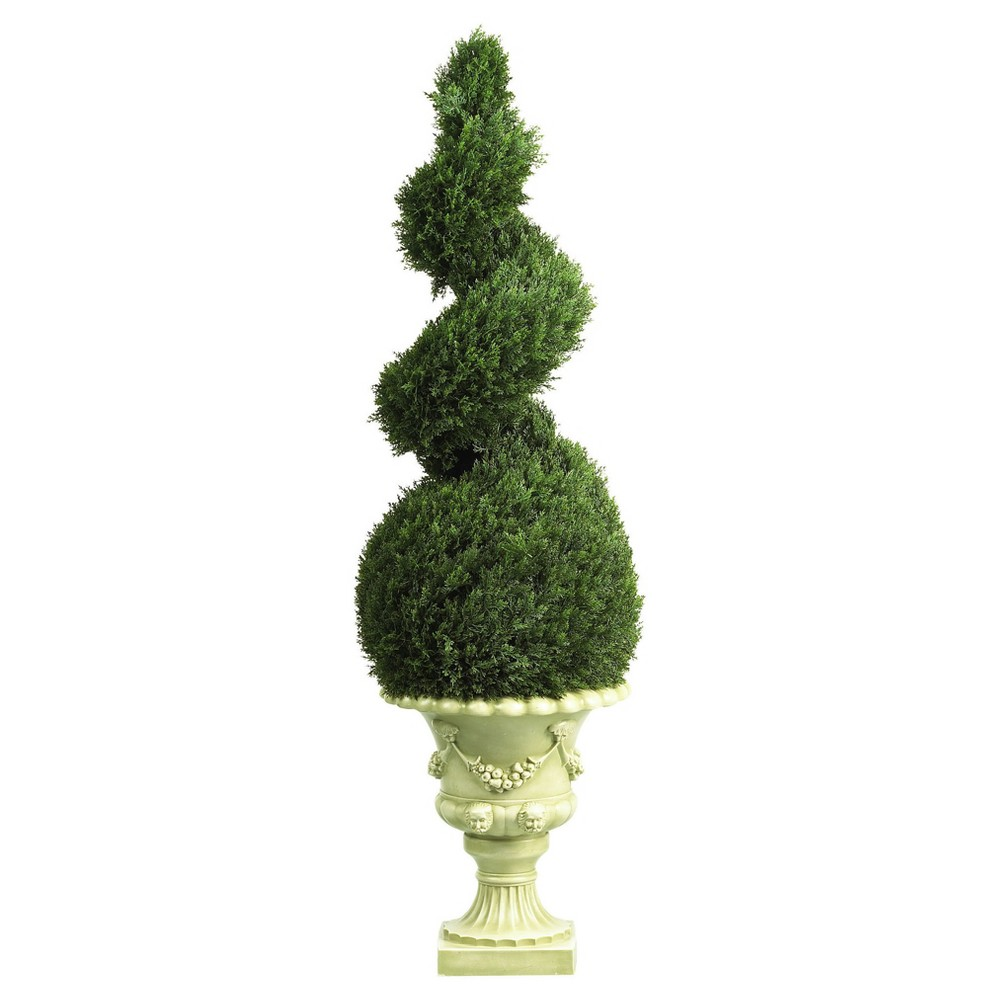 Artificial 4ft Cedar Spiral With Decorative Vase Indoor/Outdoor - Nearly Natural, Green