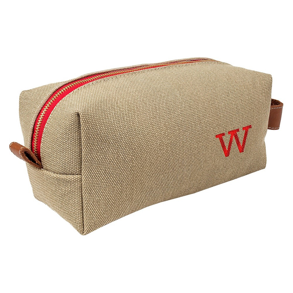 Personalized Tan Waxed Canvas & Leather Dopp Kit - W, Taupe Brown