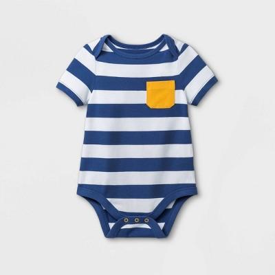Baby Boys' Pocket Striped Short Sleeve Bodysuit - Cat & Jack™ Dusty Blue 12M