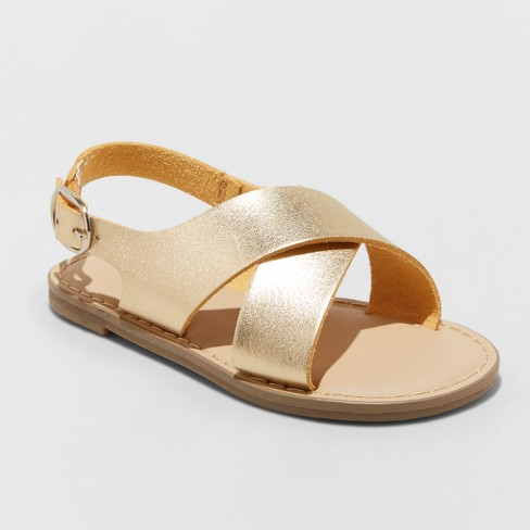 Toddler Girls' Gail Footbed Sandals - Cat & Jack™ Gold 5 - image 1 of 3