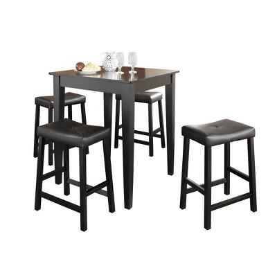 5pc Pub Dining Set with Upholstered Saddle Stools Black - Crosley