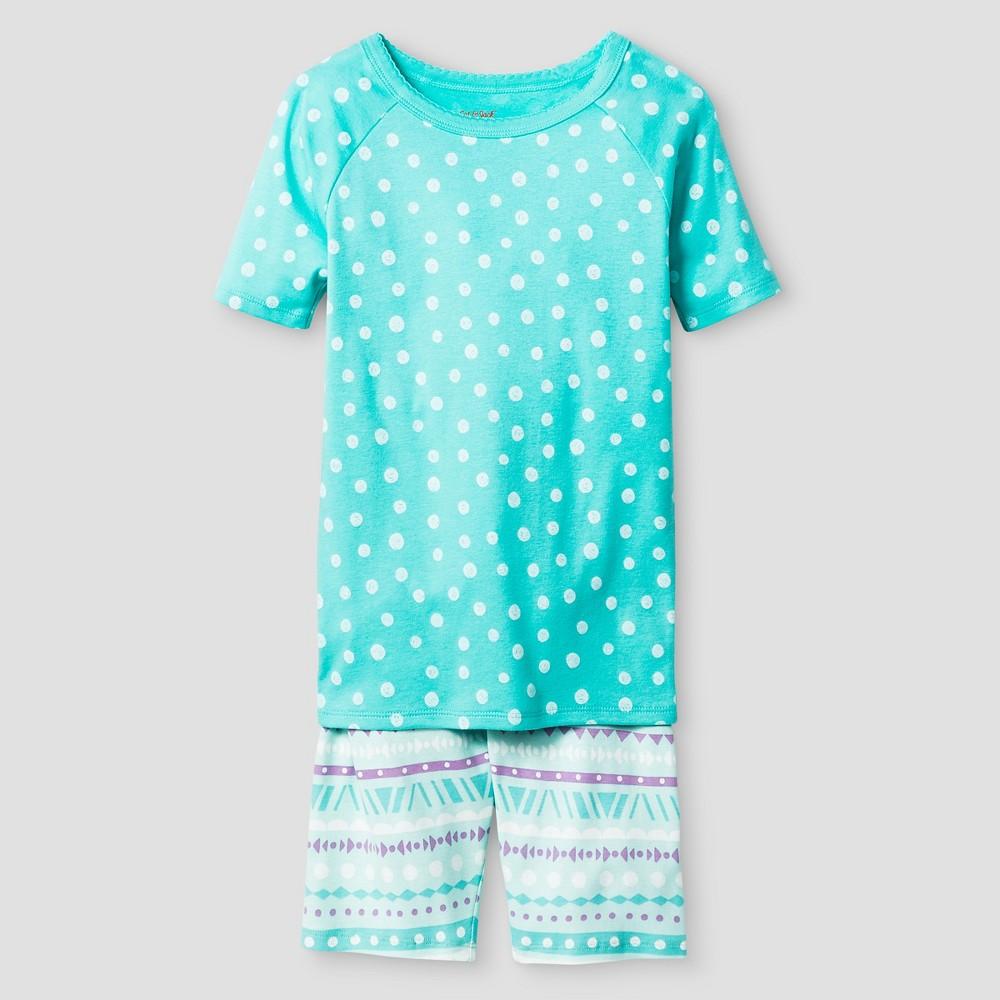 Girls' Organic Cotton Pajama Set - Cat & Jack Aqua 6, Green