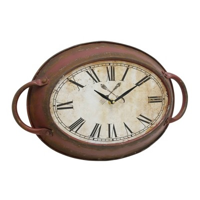 "16.5"" x 10.6"" Oval Metal Wall Clock Red - Stonebriar Collection"