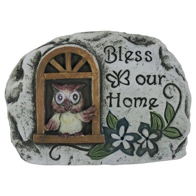 """Darice 4.5"""" Brown Owl """"Bless Our Home"""" Cement Garden Outdoor Stone"""