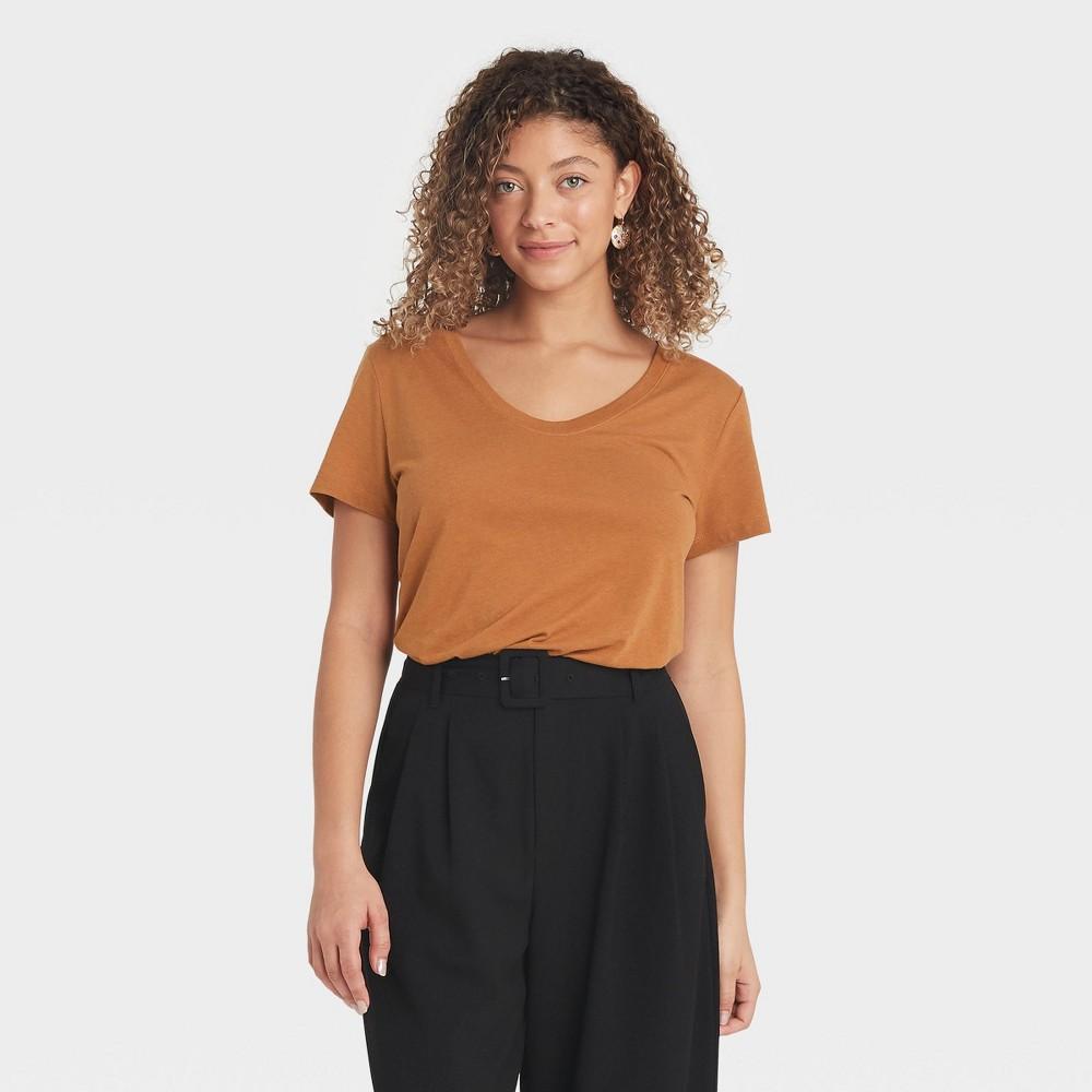 Women 39 S Short Sleeve Scoop Neck T Shirt A New Day 8482 Brown Xl