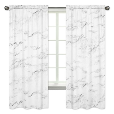 Black & White Marble Curtain Panels - Sweet Jojo Designs