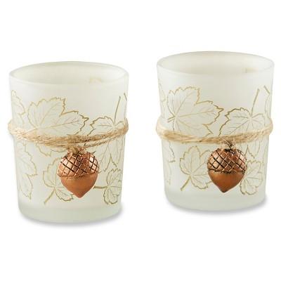 12ct Leaf Print Tealight Holder with Copper Acorn Charm - Kate Aspen®
