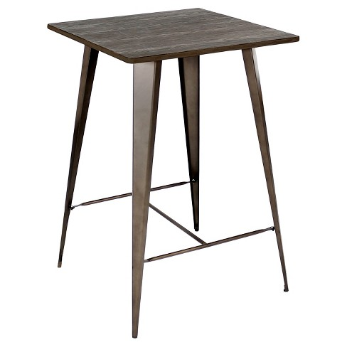 "Oregon Industrial 41"" Pub Table Antique Metal with Espresso Wood Top - LumiSource - image 1 of 1"