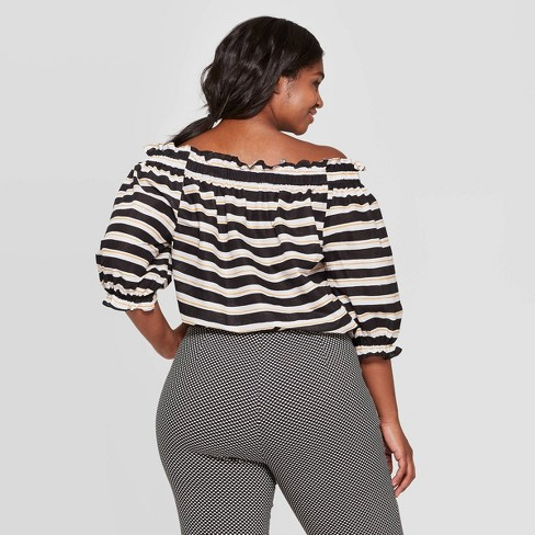 7dab361f10fde8 Women s Plus Size Striped 3 4 Sleeve Off the Shoulder Bardot Top - Who What  Wear™ Black White