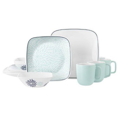 Corelle 16pc Glass Botanical Garden Dinnerware Set Teal