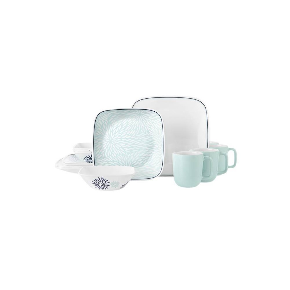 Image of Corelle 16pc Glass Botanical Garden Dinnerware Set Teal, Blue
