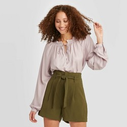 Women's Regular Fit Bishop Long Sleeve Collared Blouse - A New Day™