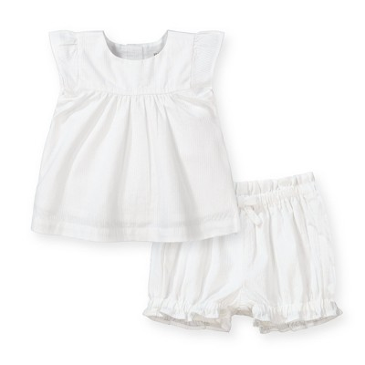 Hope & Henry Layette Baby Girl Woven Flutter Sleeve Swing Top and Ruffle Bloomer 2-Piece Set, Infant