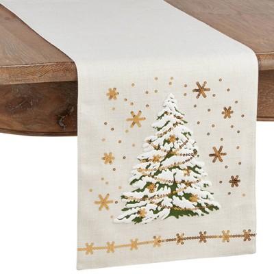 """13""""x72"""" Christmas Tree Runner White - Saro Lifestyle"""