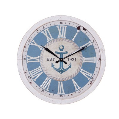 """23.75"""" x 23.75"""" Large Round Anchor Wood Wall Clock Blue/White - Olivia & May"""