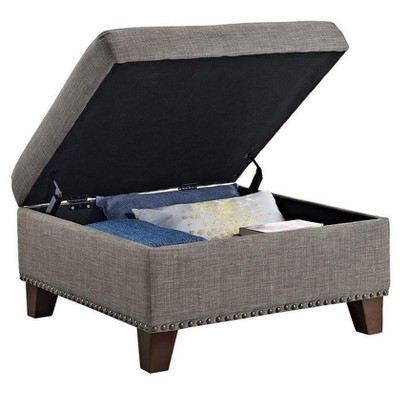 Delightful Linen Square Storage Ottoman With Nailheads   Dorel Living® : Target