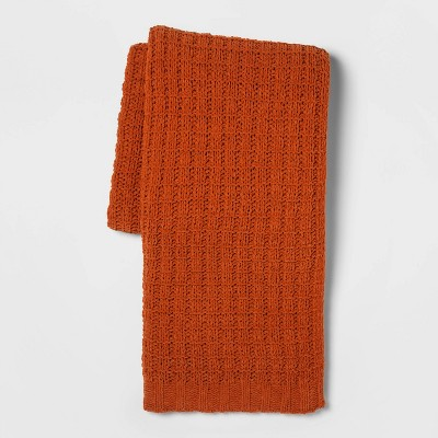 Solid Chenille Throw Blanket Orange - Threshold™