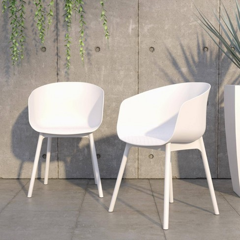 York 2pk Xl Indoor Outdoor Dining, White Patio Dining Chairs