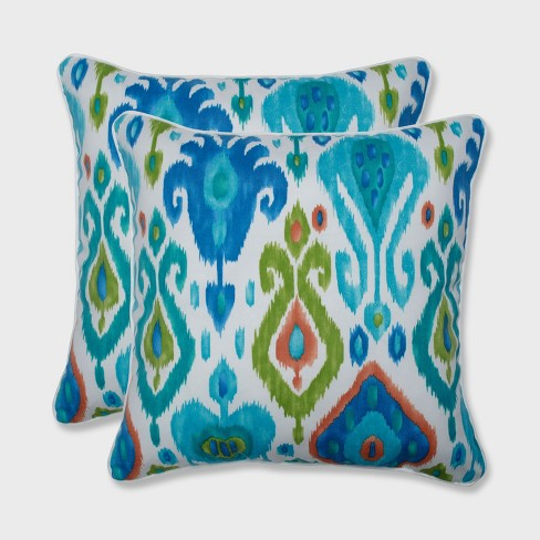 "2pk 18.5"" Paso Caribe Outdoor Throw Pillow Blue - Pillow Perfect - image 1 of 2"