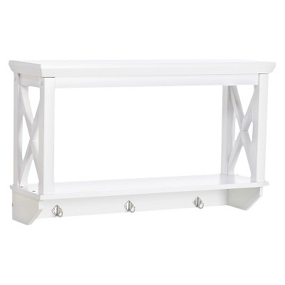 X-Frame Collection Wall Shelf with Hooks White - RiverRidge