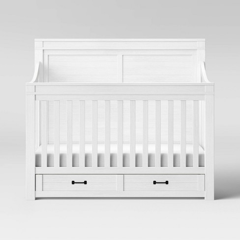 Convertible Baby Crib With Toddler Rail Storage Bed 4 In 1 Nursery Furniture New