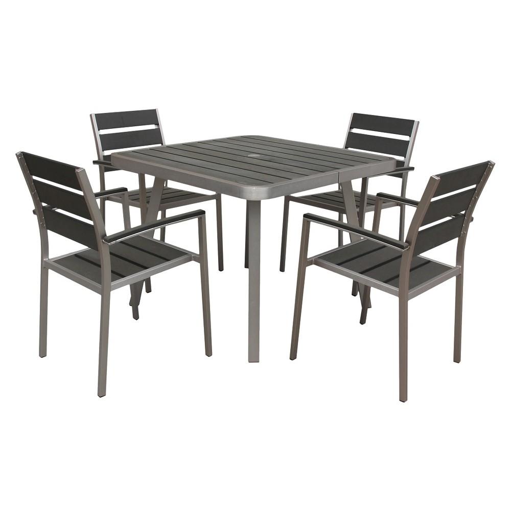 Boraam Canaria 5-Piece Polylumber Dining Set, Gray