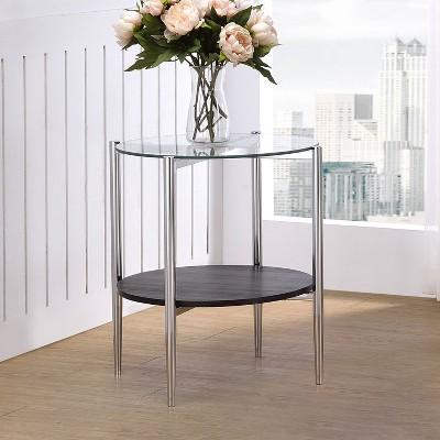 Bayliss End Table Glass Chrome/Merlot - Steve Silver Co.