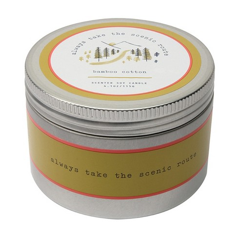 4.1oz Lidded Tin Candle Bamboo Cotton - Happy Place - image 1 of 2