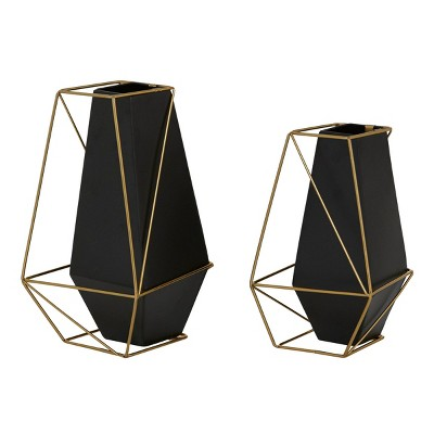 Set of 2 Metal Geometric Vase with Outer Frame Black/Gold - Olivia & May