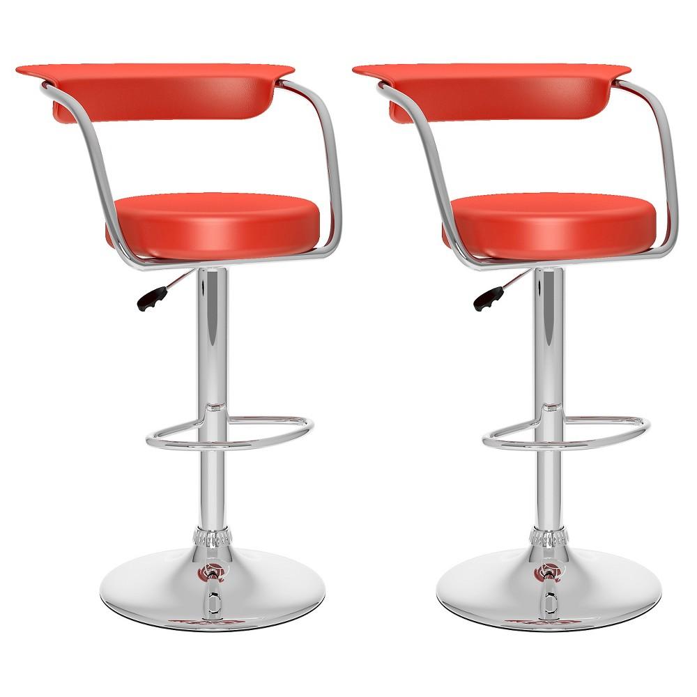 Open Back Adjustable Barstool - Red (Set Of 2) - Corliving
