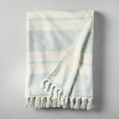 Double Stripes Cotton Beach Towel Light Blue/Sour Cream - Hearth & Hand™ with Magnolia