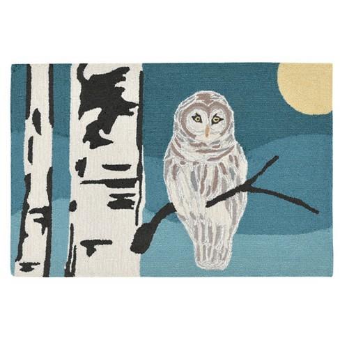 Blue Frontporch Snowy Owl Night Indoor Outdoor Rug Liora Manne