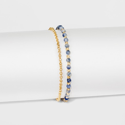 """Women's Silver Plated Sodalite Bead with Pave Disk Bracelet - Gold (8"""") - image 1 of 1"""