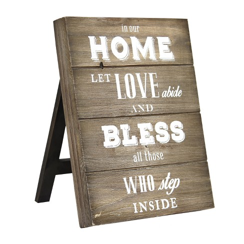 "Stratton Home Decor 10""x8""""In Our Home Let Love Abide and Bless All Those Inside"" Table Top Decorative Wall Art Set Antique Wood - image 1 of 3"